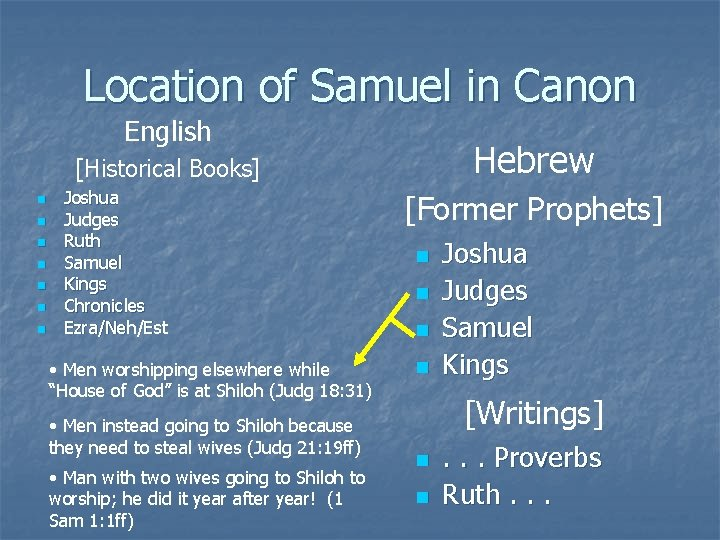 Location of Samuel in Canon English Hebrew [Historical Books] n n n n Joshua
