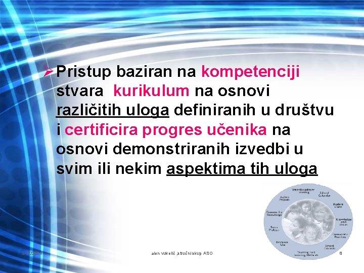 Ø Pristup baziran na kompetenciji stvara kurikulum na osnovi različitih uloga definiranih u društvu