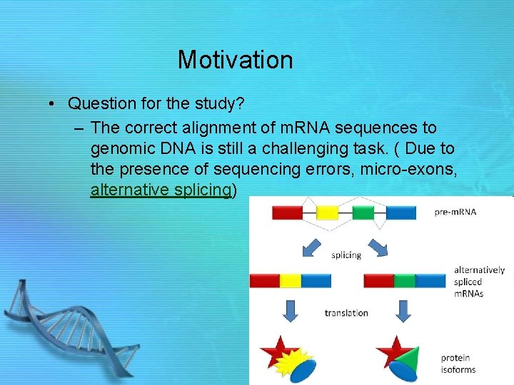 Motivation • Question for the study? – The correct alignment of m. RNA sequences