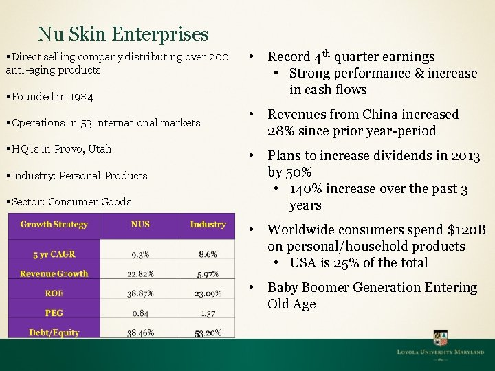 Nu Skin Enterprises §Direct selling company distributing over 200 anti-aging products §Founded in 1984