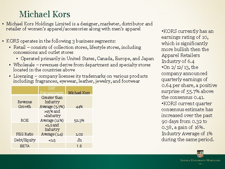 Michael Kors § § Michael Kors Holdings Limited is a designer, marketer, distributor and