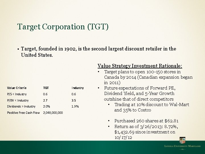Target Corporation (TGT) § Target, founded in 1902, is the second largest discount retailer