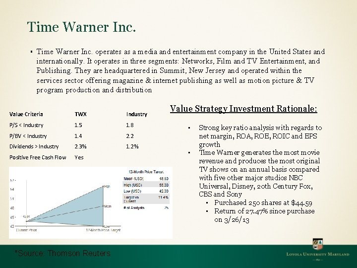 Time Warner Inc. § Time Warner Inc. operates as a media and entertainment company