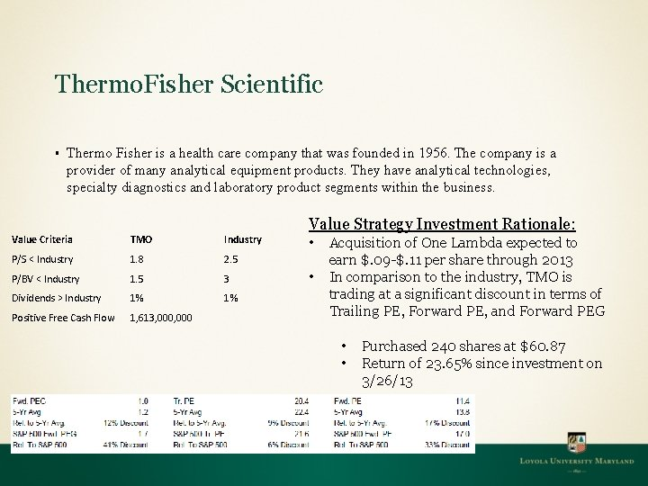 Thermo. Fisher Scientific § Thermo Fisher is a health care company that was founded