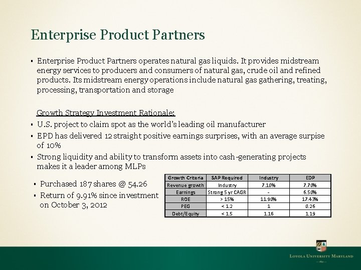 Enterprise Product Partners operates natural gas liquids. It provides midstream energy services to producers