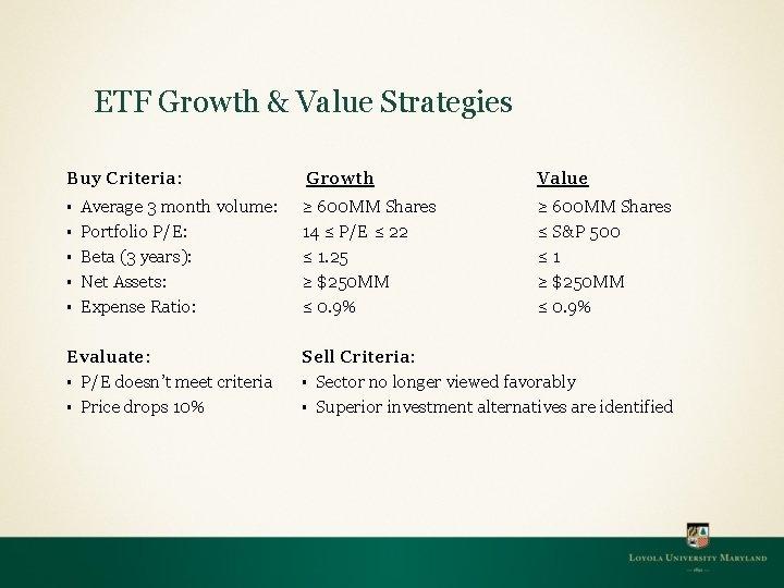 ETF Growth & Value Strategies Buy Criteria: § § § Average 3 month volume:
