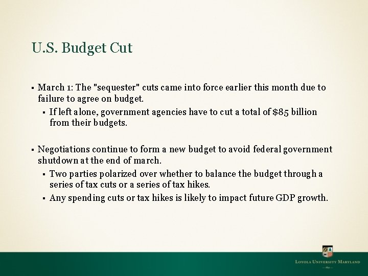 """U. S. Budget Cut § March 1: The """"sequester"""" cuts came into force earlier"""