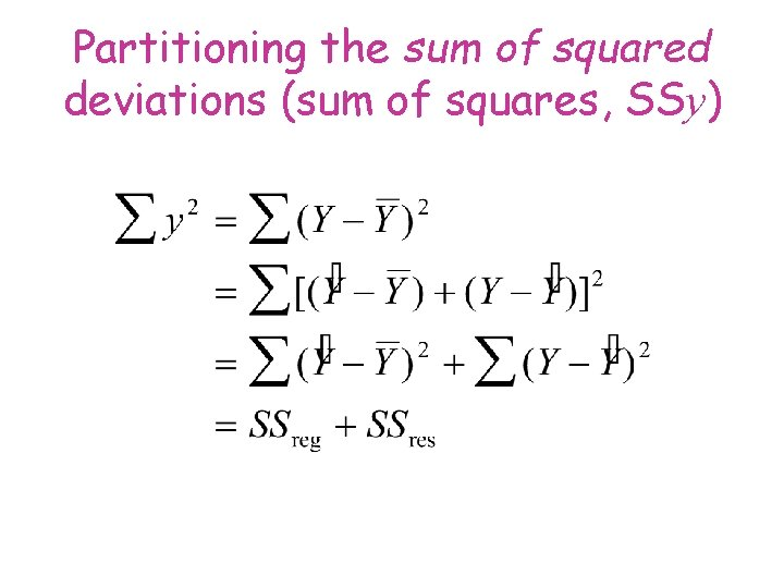 Partitioning the sum of squared deviations (sum of squares, SSy)