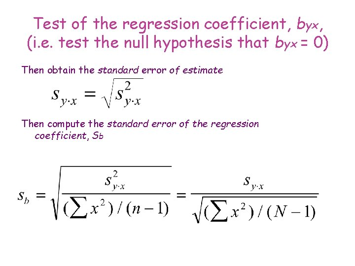 Test of the regression coefficient, byx, (i. e. test the null hypothesis that byx