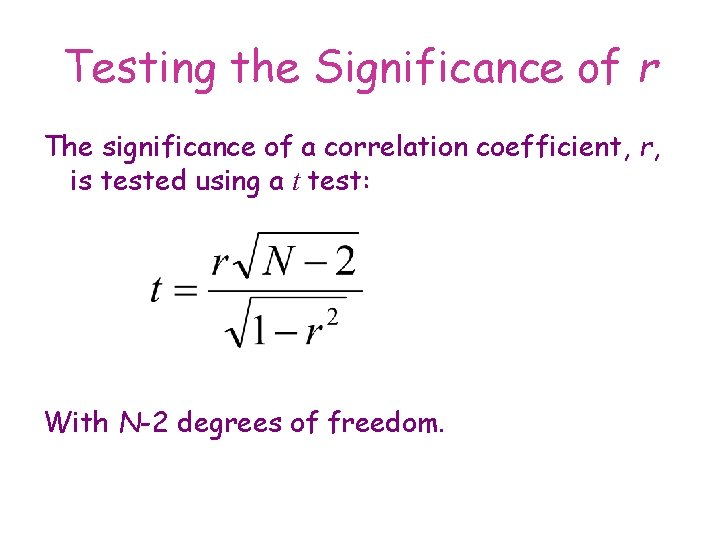 Testing the Significance of r The significance of a correlation coefficient, r, is tested