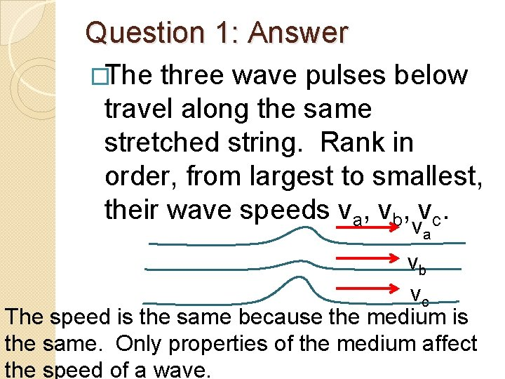 Question 1: Answer �The three wave pulses below travel along the same stretched string.