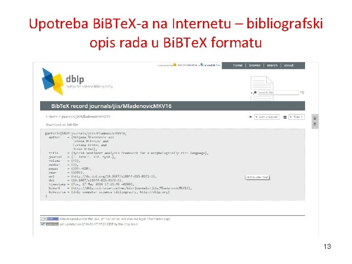 Upotreba Bi. BTe. X-a na Internetu – bibliografski opis rada u Bi. BTe. X