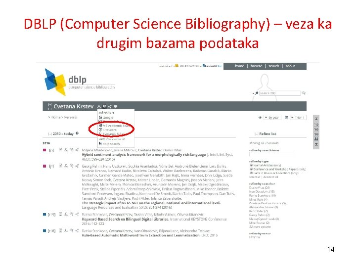 DBLP (Computer Science Bibliography) – veza ka drugim bazama podataka 14
