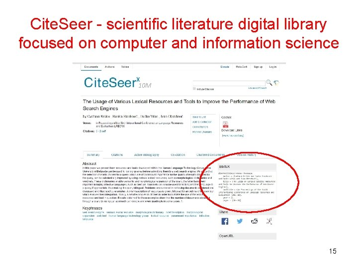 Cite. Seer - scientific literature digital library focused on computer and information science 15