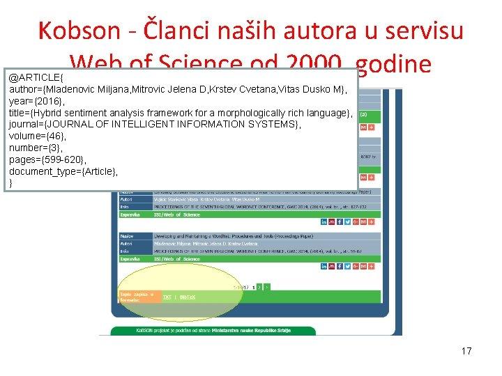Kobson - Članci naših autora u servisu Web of Science od 2000. godine @ARTICLE{