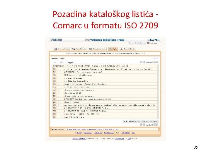 Pozadina kataloškog listića Comarc u formatu ISO 2709 23