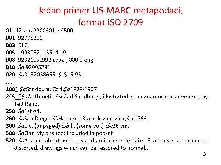 Jedan primer US-MARC metapodaci, format ISO 2709 01142 cam 2200301 a 4500 001 92005291