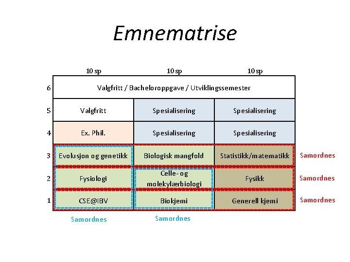 Emnematrise 10 sp 6 10 sp Valgfritt / Bacheloroppgave / Utviklingssemester 5 Valgfritt Spesialisering