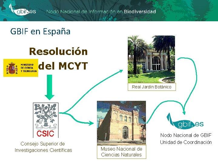 GBIF en España Resolución del MCYT Real Jardín Botánico Consejo Superior de Investigaciones Científicas