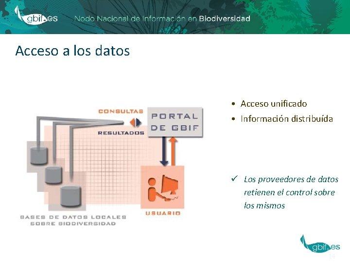 Acceso a los datos • Acceso unificado • Información distribuída ü Los proveedores de