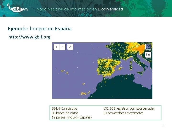 Ejemplo: hongos en España http: //www. gbif. org 284. 441 registros 38 bases de