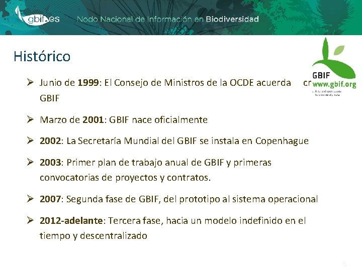 Histórico Ø Junio de 1999: El Consejo de Ministros de la OCDE acuerda GBIF