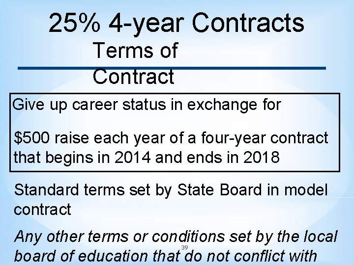 25% 4 -year Contracts Terms of Contract Give up career status in exchange for