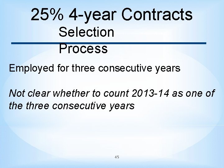 25% 4 -year Contracts Selection Process Employed for three consecutive years Not clear whether