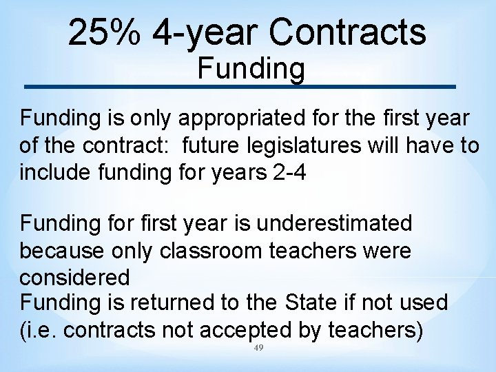 25% 4 -year Contracts Funding is only appropriated for the first year of the