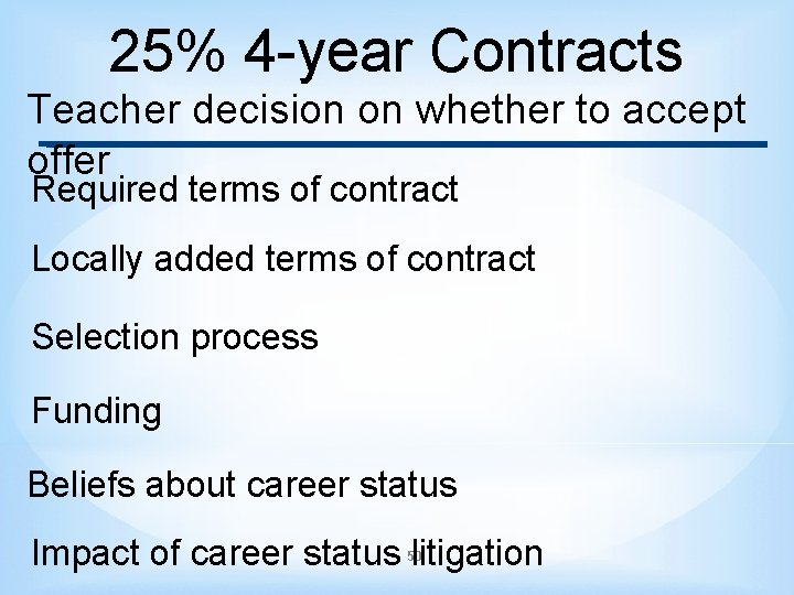25% 4 -year Contracts Teacher decision on whether to accept offer Required terms of