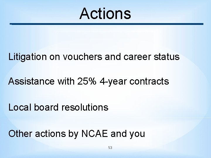 Actions Litigation on vouchers and career status Assistance with 25% 4 -year contracts Local