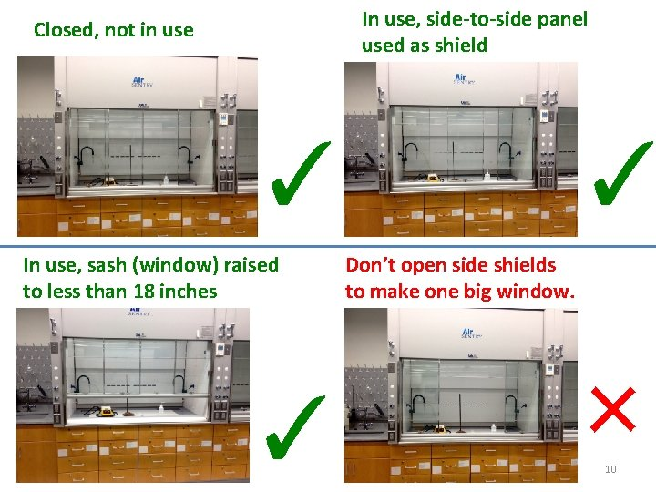 In use, side-to-side panel used as shield Closed, not in use ✓ In use,