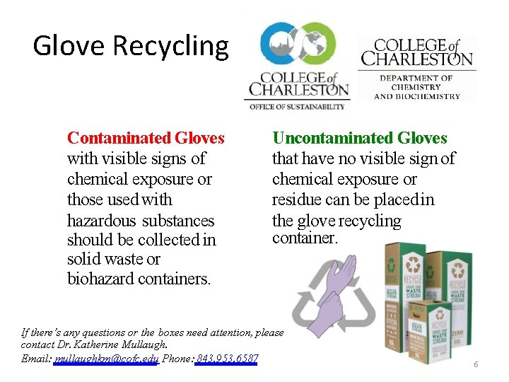 Glove Recycling Contaminated Gloves with visible signs of chemical exposure or those used with