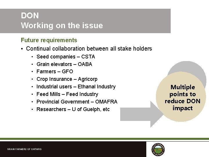 DON Working on the issue Future requirements • Continual collaboration between all stake holders