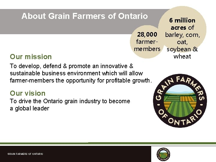 About Grain Farmers of Ontario Our mission 6 million acres of 28, 000 barley,