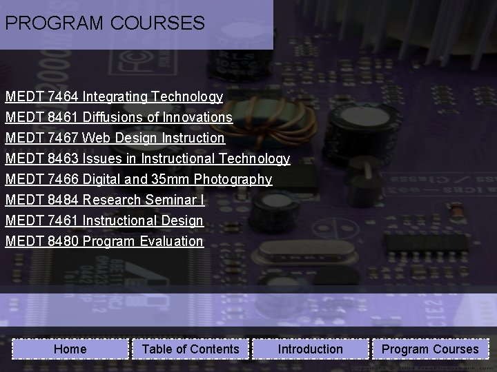 PROGRAM COURSES MEDT 7464 Integrating Technology MEDT 8461 Diffusions of Innovations MEDT 7467 Web