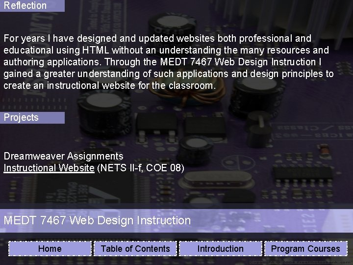 Reflection For years I have designed and updated websites both professional and educational using