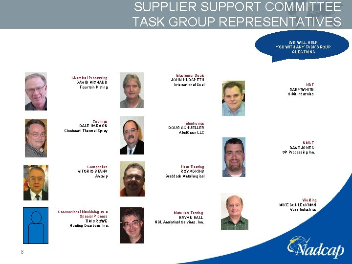 SUPPLIER SUPPORT COMMITTEE TASK GROUP REPRESENTATIVES WE WILL HELP YOU WITH ANY TASK GROUP