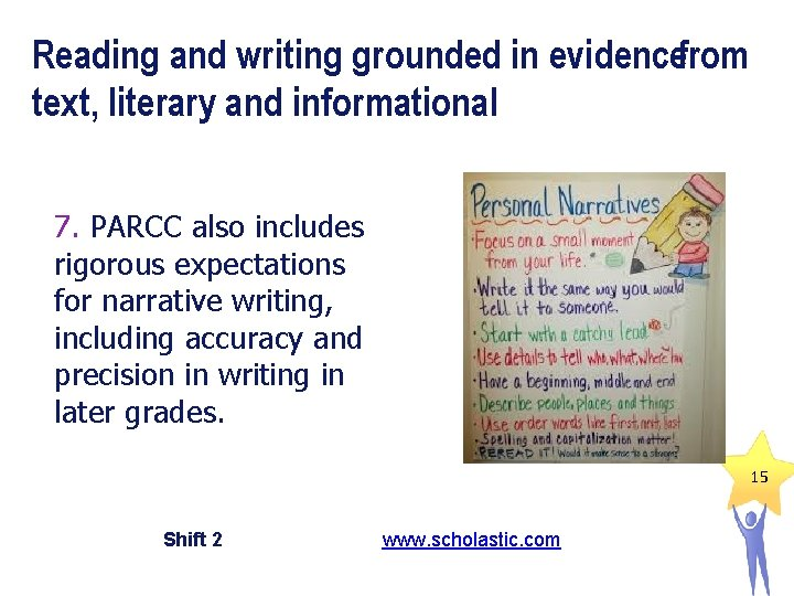 Reading and writing grounded in evidencefrom text, literary and informational 7. PARCC also includes