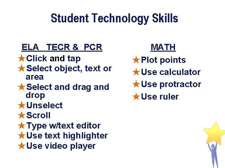 Student Technology Skills ELA TECR & PCR ★Click and tap ★Select object, text or
