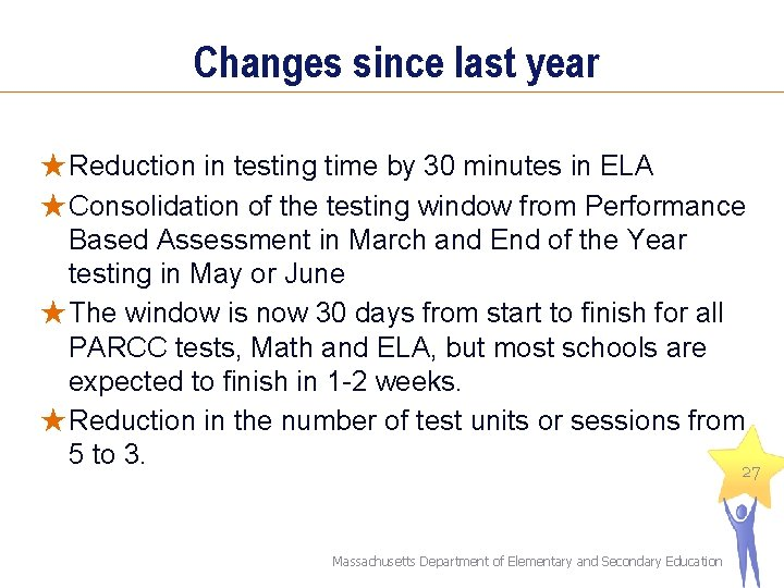 Changes since last year ★Reduction in testing time by 30 minutes in ELA ★Consolidation