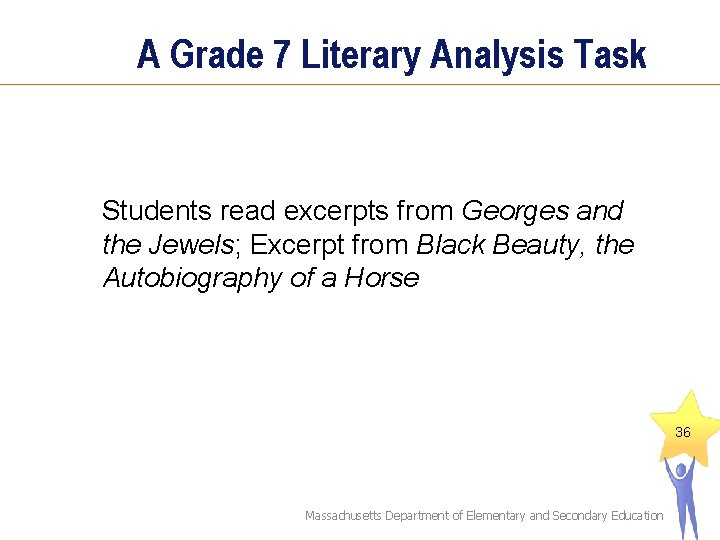 A Grade 7 Literary Analysis Task Students read excerpts from Georges and the Jewels;