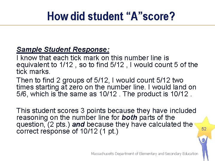 """How did student """"A""""score? Sample Student Response: I know that each tick mark on"""