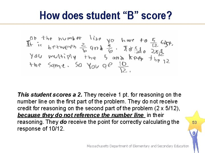 """How does student """"B"""" score? This student scores a 2. They receive 1 pt."""