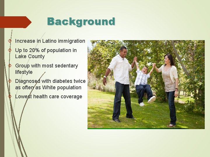 Background Increase in Latino immigration Up to 20% of population in Lake County Group