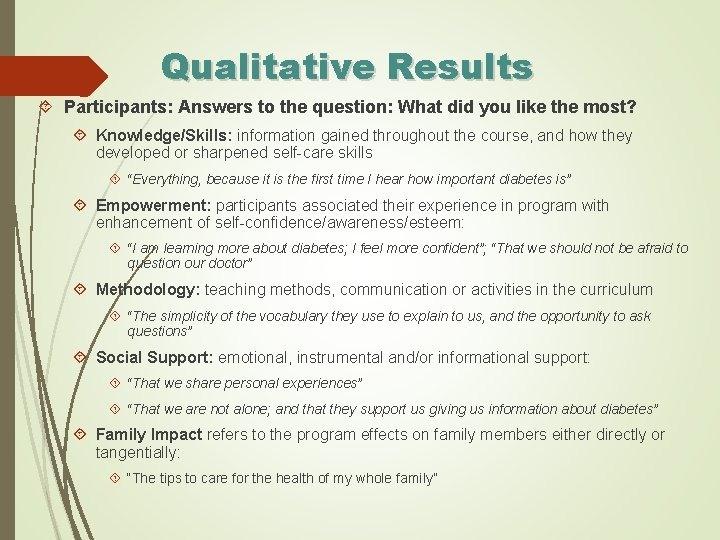 Qualitative Results Participants: Answers to the question: What did you like the most? Knowledge/Skills: