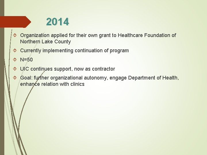 2014 Organization applied for their own grant to Healthcare Foundation of Northern Lake County