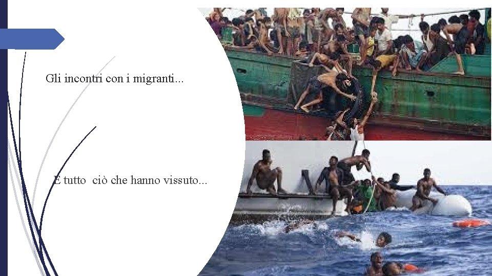 Gli incontri con i migranti. . . E tutto ciò che hanno vissuto.