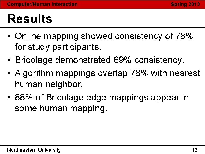 Computer/Human Interaction Spring 2013 Results • Online mapping showed consistency of 78% for study