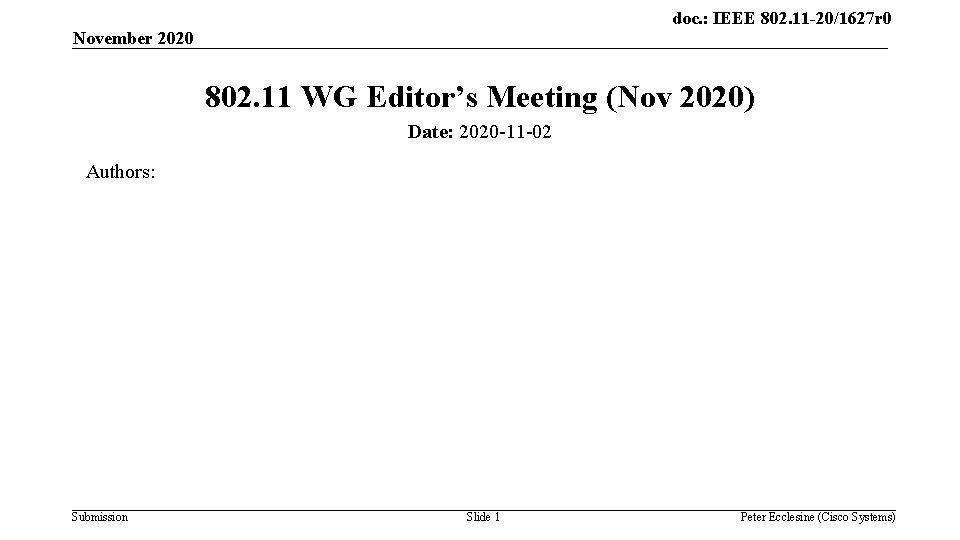 doc. : IEEE 802. 11 -20/1627 r 0 November 2020 802. 11 WG Editor's